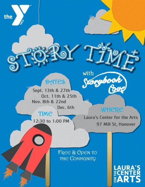 storytime with laura's center for the arts  9/13, 9/27, 10/11, 10/25, 11/8, 11/22 and 12/6 at 12:30pm