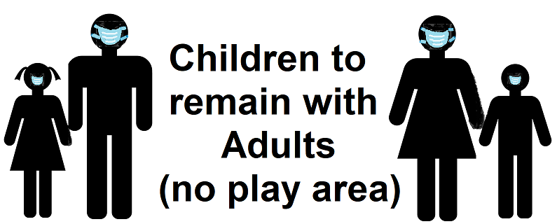 children are to remain with adults; no play area