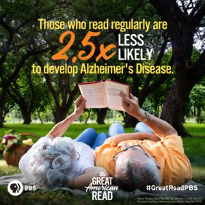 THOSE WHO READ REGUARLY ARE 2.5 TIMES LESS LIKELY TO DEVELOP ALZHEIMER'S DISEASE